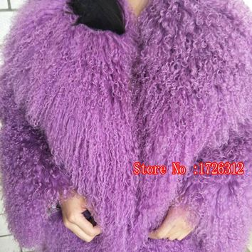2017 beach wool coat medium-long female mongolia sheep  fur coat overcoat outerwear jacket turn down lamb collar women