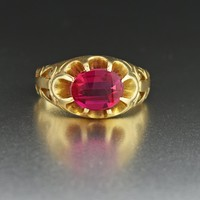 Vintage Mens Gold Ruby Ring 10K Gold