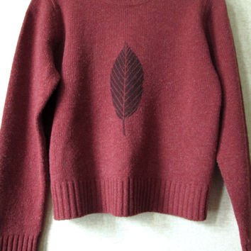 Cropped Sweater Vintage 90s oversized crewneck russet red wool heather tweed leaf print short length J Crew womens large