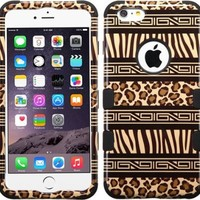 Zebra Skin-Leopard Skin/Black TUFF Hybrid Phone Protector Cover Case with silicon protection for your Iphone 6 Plus phone + FREE SCREEN PROTECTOR!