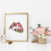 Floral Bitten Lips Print / Hip Hop / Modern Lip Art / Home Decor  Office Wall Decor  Dorm Decor  Floral Art Print / Vogue Print / Kiss Print