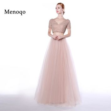 Menoqo two piece prom dresses 2017 Short Sleeve Pearls V neck A Line Long Party Dresses Formal Evening Gowns Real Photos