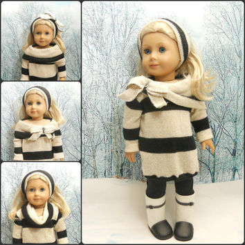 "18"" Doll Clothes 3 PC Set: Oversize Sweater, Leggings, Headband"