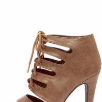 My Delicious Scanda Taupe Lace-Up High Heel Booties