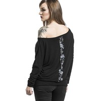 T-Shirts Women Casual O-Neck Skull Printed Casual Shirt Tops Polyester Long Sleeve