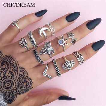 13 PCS/Set Vintage Engraving Totem Silver/Gold Color  Midi Rings Set For Women Bohemian Boho Rings Party Jewelry Accessories