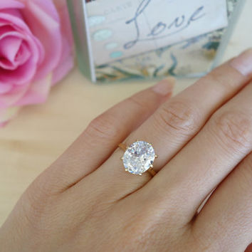 Custom order for Joshua: 14k Solid Yellow Gold, Size 7, 4 carat Oval Cut Engagement 8 Prong Ring, Man Made Diamond, Wedding Ring, Birthstone