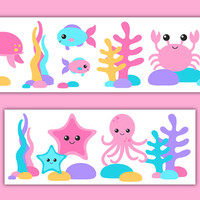 Sea Life Nursery Decor Pink Girl Wallpaper Border Wall Art Decal [1017] - $14.00 : DeCamp Studios, The best selection of nursery wall murals, childrens wallpaper border, teen girl or boy wall art decals, baby premade scrapbook pages, and digital printable