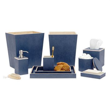 Manchester Faux Shagreen Bathroom Accessories (Navy Blue)