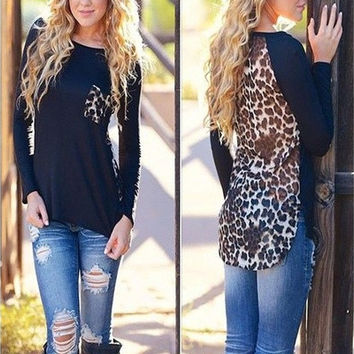 New Autumn Womens Chiffon Leopard Loose Long Sleeve Blouse Tee-Shirt Casual Tops [8023420551]