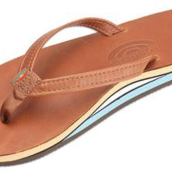 Women's Double Layer Classic Leather Sandal in Tan with Blue Arch by Rainbow Sandals