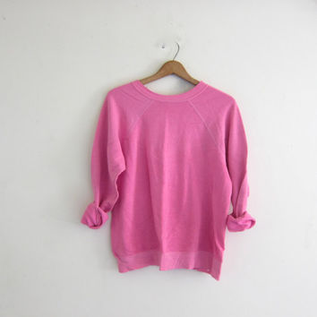 vintage thin pink sweatshirt. slouchy sweater. plain and basic crewneck pullover. grunge / hipster
