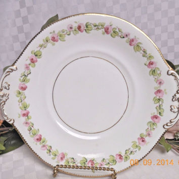 Bone china Dinnerware England  Un Marked  Roses Handled Cake plate
