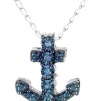 """Sterling Silver Mini Anchor Pendant Necklace, 18"""""""