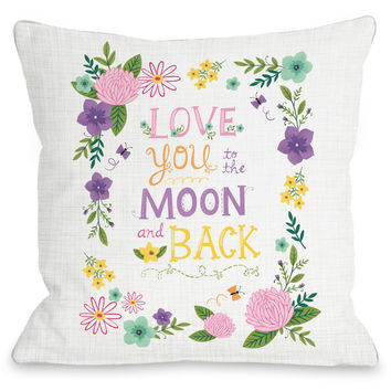 """Love You To The Moon And Back"" Indoor Throw Pillow by Julissa Mora, 16""x16"""