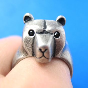 3D Adjustable Polar Bear Animal Wrap Around Hug Ring in Silver | Animal Jewelry