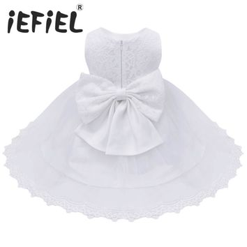 2017 Infant Baby Girls Flower Dresses Christening Gowns Newborn Babies Baptism Embroidered Princess Birthday White Bow Dresses