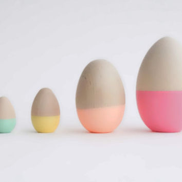 Pastel Dipped Eggs, Easter Decor, Wooden Eggs by Willful goods with intention