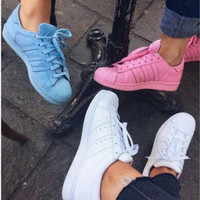 """Adidas"" Fashion Shell-toe Flats Sneakers Sport Shoes Pure color Blue"