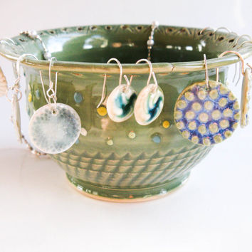 All-in-One Jewelry Bowl: Polka Dot Ring Holder, Earring Organizer, Bracelet Catcher