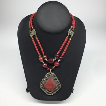 Turkmen Necklace Afghan Antique Tribal Fashion Multi Strand Beaded Necklace S126
