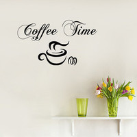 Wall Decals Vinyl Decal Sticker Words Coffee Time Coffee Cup Coffee Beans Home Interior Design Art Murals Kitchen Cafe Decor KT117