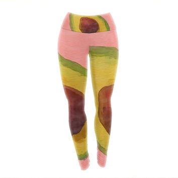 "Oriana Cordero  ""Avocado For Lola"" Green Pink Yoga Leggings"