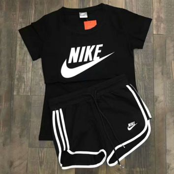 """""""NIKE"""" Casual Print Short Sleeve Shirt Top Tee Blouse Two Peice  G-A-XYCL"""
