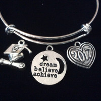 Graduation 2017 Expandable Silver Charm Bangle Bracelet Trendy Gift Believe Dream