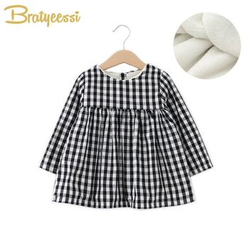Plush Lining Winter Baby Dresses Plaid A-Line Warm Infant Girl Dress Christmas Cotton Kids Princess Dress
