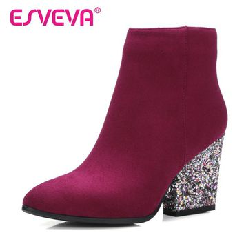 ESVEVA 2017 Zipper Autumn Shoes Women Flock Fashion Boots Ladies Thick High Heel Ankle Boots Party Rhinestone Shoes Size 34-43