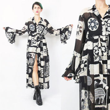 90s Sheer Maxi Dress Flared Ruffle Sleeve Dress Abstract Floral Pattern 90s Babydoll Dress Black White Print Dress Goth Button Front (M)