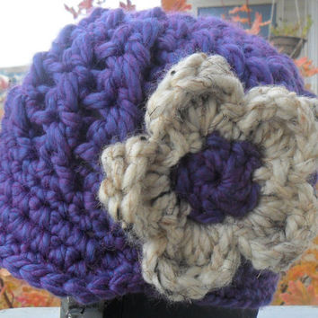 Crochet Baby Billed Beanie with Flower by SoLaynaInspirations