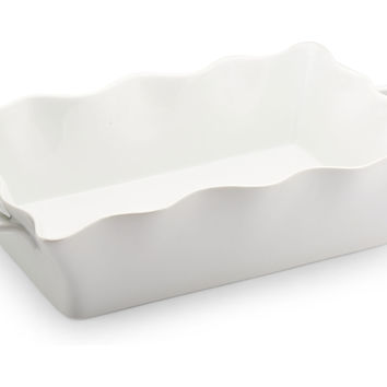 3 Qt Scalloped Baking Dish, White, Bakers & Casseroles