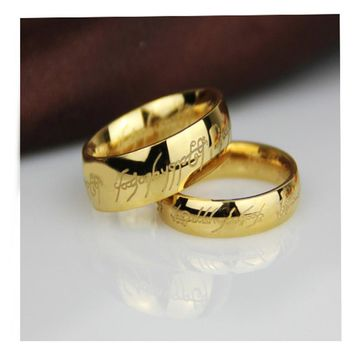 Amader Gold/Silver/Black Colors Wedding Bands For Couples Lord Hobbit Rings For Women Men Jewelry Fashion Rings Us Size 6-14