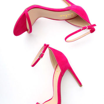 Angie Fuchsia Suede Ankle Strap Heels