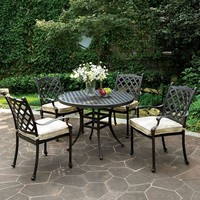 Chiara Ii Contemporary Round Patio Dining Table , Dark Gray