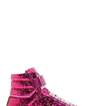 Saint Laurent Pink Glitter Court Classic High-top Sneakers