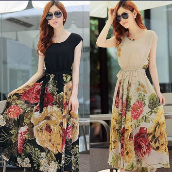 Summer Elegant Bohemian Style Short Sleeve Chiffon Dress Casual M/L/XL/XXL SV000258 Vestidos