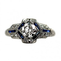 Art Deco Platinum Old European Cut Diamond and Sapphire Engagement Ring Circa Early 1900's - Antique Engagement Rings