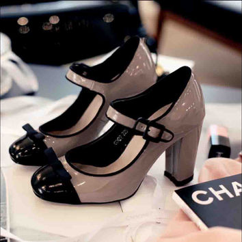 Elegant Korean Shoes Womens Nude Patent Leather Cap Toe Color Block Platform 3 Inch Chunky High Heel Mary Jane Pumps Tb0305