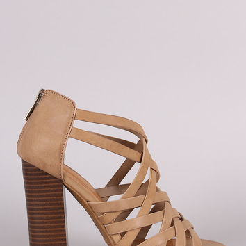Bamboo Strappy Cage Chunky Heel