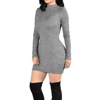 New Arrival Women Bodycon Dress   Basic Mini Dress Grey Turtlneck Long Sleeve Sexy Lady Dresses Robe Femme GS