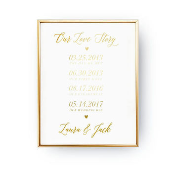 Our Love Story, Wedding Wall Decor, Real Gold Foil Print, Wedding Signs, Wedding Decoration, Wedding Print, Gold Foil Sign Wedding