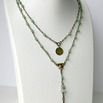 Delicate Understated Light Green Antiqued Brass Dangling Two Strand Rosary Style Necklace
