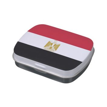 Patriotic candy tins with Flag of Egypt