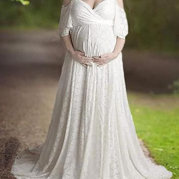 New White Floral Lace Cut Out Spaghetti Strap High Waisted Pregnancy Maternity Maxi Dress