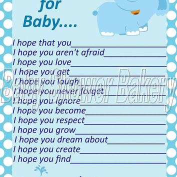 Wishes for Baby, Blue Elephant Baby Shower Game, Blue Elephant Baby Shower Activity, Printable Wishes for Baby Activity