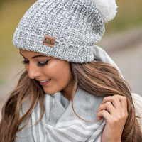 CC Two Toned Knit Fold Over Puff Beanie (Grey & Ivory)