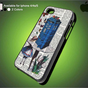 Alice In Wonderland iPhone Case, Tardis Doctor Who iPhone 5 Case, iPhone 4 4s Case, Unique iPhone Case, Hard Case Cover